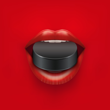 girl mouth open: Background of Womans open mouth with ice hockey puck in lips. Vector Illustration.