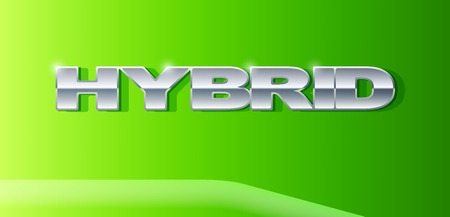 automobile industry: Silver letters Hybrid on metallic glossy surface. Car and automobile industry. Vector Illustration.