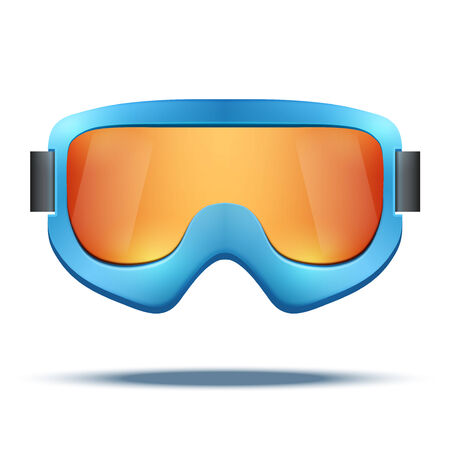 Classic vintage old school blue snowboard ski goggles with colorful glass. Vector isolated on white background Stock Illustratie