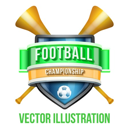 fife: Label with vuvuzela for football sport competition. Bright premium quality design. Editable Vector Illustration isolated on white background.