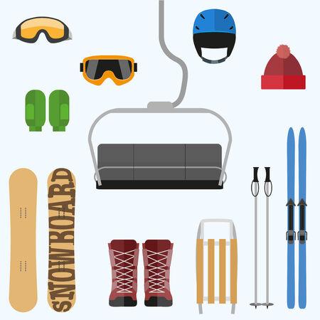 yoke: Set of flat design elements on winter sport theme. Vector illustration Isolated on white background. Illustration