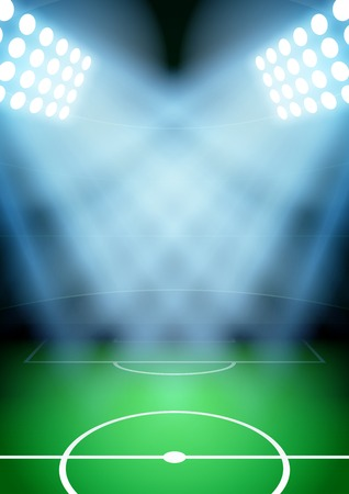 Vertical Background for posters night soccer football stadium in the spotlight. Editable Vector Illustration.
