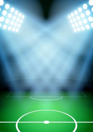 Verticale Achtergrond voor posters nacht voetbal voetbalstadion in de schijnwerpers. Bewerkbare vector illustratie.