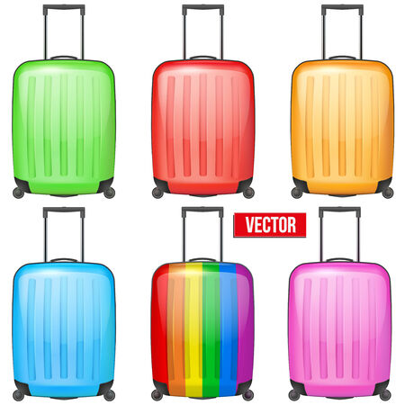 avia: Set of Classic orange plastic luggage suitcase for air or road travel. Vector Illustration isolated on white background.