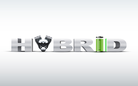 automobile industry: Silver letters Hybrid on with engine and battery. Eco green alternative automobile industry. Vector Illustration.