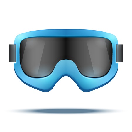 ski goggles: Classic vintage old school blue snowboard ski goggles with black glass. Vector isolated on white background