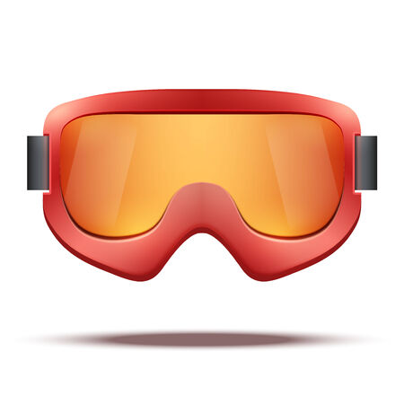 ski goggles: Classic vintage old school red snowboard ski goggles with black glass. Vector isolated on white background