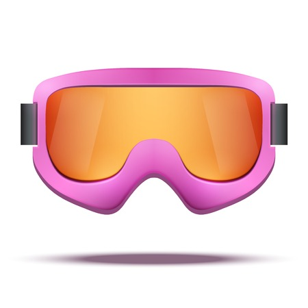ski goggles: Classic vintage old school pink snowboard ski goggles with colorful glass. Vector isolated on white background Illustration