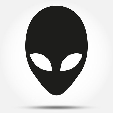 lifeform: Silhouette symbol of Alien head creature from another world. Simple Vector illustration. Illustration