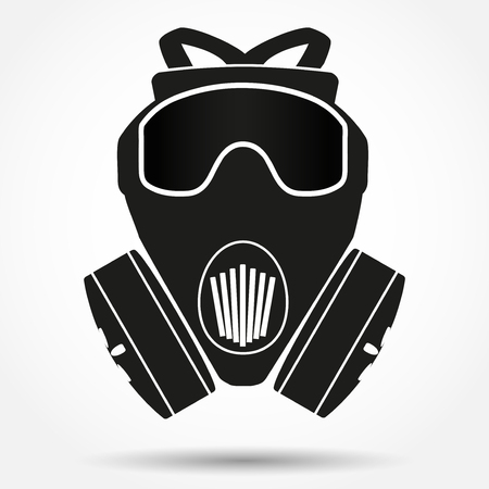 gas mask warning sign: Silhouette symbol of Khaki gas mask respirator Illustration