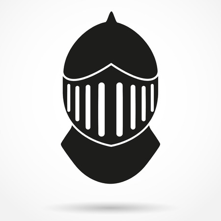 crusader: Silhouette symbol of Crusader Metallic Knights Helmet. Retro style. Vector Background