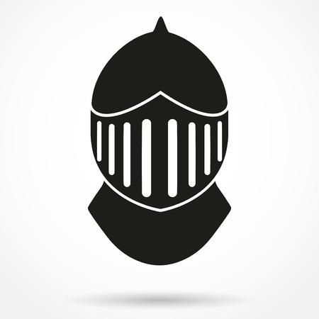 Silhouette symbol of Crusader Metallic Knights Helmet. Retro style. Vector Background