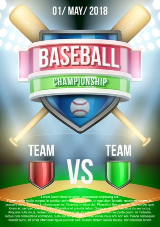 Background for posters baseball stadium game announcement. Editable Vector Illustration. Vector