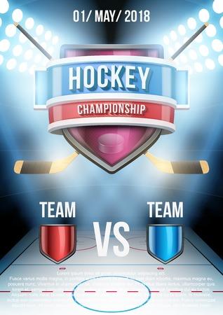 hockey sobre cesped: Antecedentes para el anuncio posters hielo hockey juego estadio. Ilustración vectorial editable.