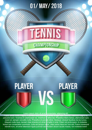 affiche: Background for posters tennis stadium game announcement. Editable Vector Illustration. Illustration