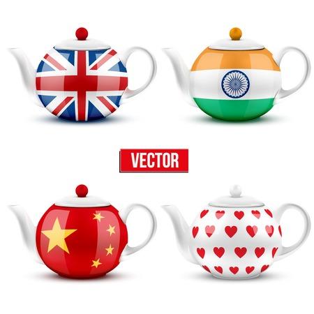 jack pot: Conjunto de diferentes tetera de cer�mica con las banderas. Ilustraci�n del vector. Aislado de fondo blanco. Vectores