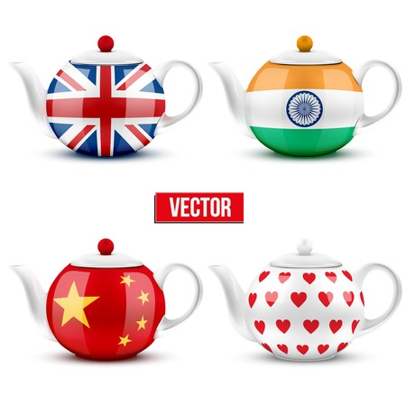 set of different ceramic teapot with flags. Vector illustration. Isolated of white background. Illustration