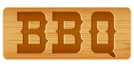 Nameplate of wood for menu with word BBQ. Vector Illustration isolated on white background Vector