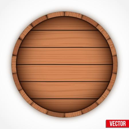 Set of wooden casks for alcohol drinks emblem. Vector illustration isolated on white background. Illustration