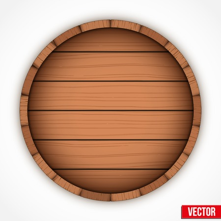 Set of wooden casks for alcohol drinks emblem. Vector illustration isolated on white background. Ilustração