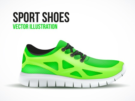 Running green shoes. Bright Sport sneakers symbol. Vector illustration isolated on white background.