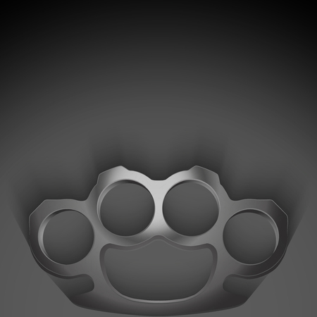 Dark Background of crime detective scene with space for text. Weapons mafia of Metal Brassknuckles. photo