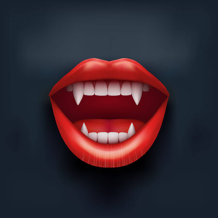 Dark Background of vampire mouth with open red lips and long teeth. photo