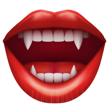 girl mouth open: vampire mouth with open red lips and long teeth. Illustration Isolated on white background. Stock Photo