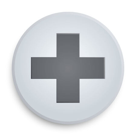 First aid medical button symbol on a white icon on a white background. Vector illustration, EPS10. illustration