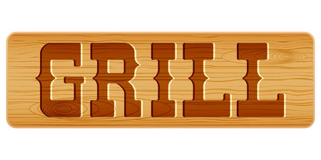 nameplate: Nameplate of wood for menu with word GRILL. Vector Illustration isolated on white background