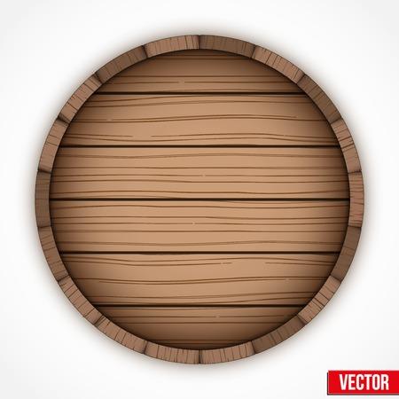 アルコールのための木製の樽酒エンブレム。白い背景で隔離されたベクトルのイラスト。  イラスト・ベクター素材