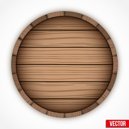 Wooden cask for alcohol drinks emblem. Vector illustration isolated on white background.