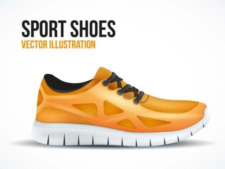 Running orange shoes. Bright Sport sneakers symbol. Vector illustration isolated on white background.