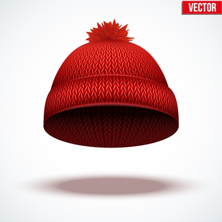knitten: Knitted woolen cap. Winter seasonal red hat. Vector illustration isolated on white background.