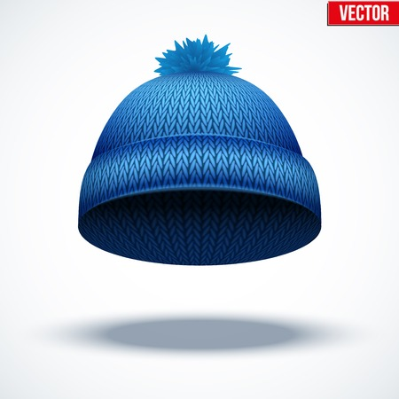 Knitted woolen cap. Winter seasonal blue hat. Vector illustration isolated on white background. Vector