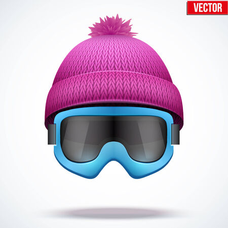 woolen: Knitted woolen cap with snow goggles. Winter seasonal sport hat. Vector illustration isolated on white background.