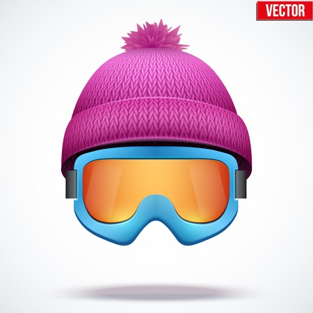 knitten: Knitted woolen cap with snow goggles. Winter seasonal sport hat. Vector illustration isolated on white background.