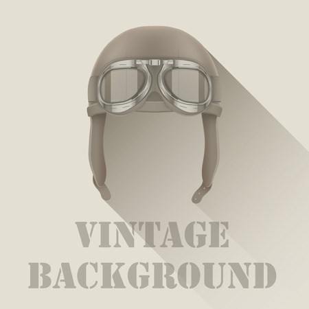 airman: Background of Retro aviator pilot or biker helmet with goggles. Vintage Vector Illustration.