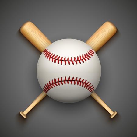 baseball bat: Vector dark background of baseball leather ball and wooden bats. Symbol of sports. Illustration