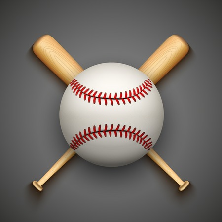 at bat: Vector fondo oscuro de pelota de cuero de béisbol y palos de madera. Símbolo de los deportes. Vectores