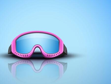 ski goggles: Light Blue Background with pink snow ski goggles. Sport symbol of defense. Editable Vector illustration. Illustration
