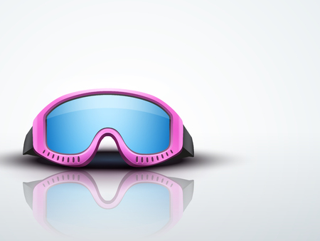 ski goggles: Light Background with pink ski goggles. Sport symbol of defense. Editable Vector illustration.