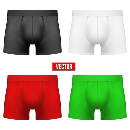 Set of Realistic layout Male of different colors underpants briefs. A template simple example. Editable Vector Illustration isolated on white background. Illustration