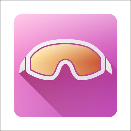 ski goggles: Flat icon with Classic old school snowboard ski goggles. Vector illustration isolated on white background