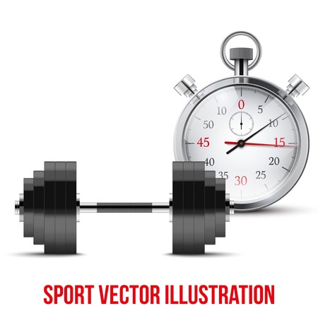 timing: Vector Illustration of dumbbell and stopwatch. Background of training and timing.