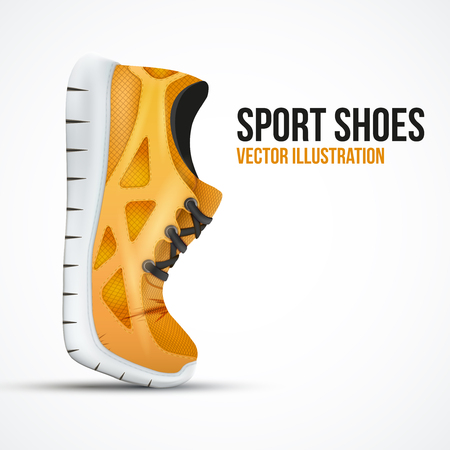 sneakers: Running curved orange shoes. Bright Sport sneakers symbol. Vector illustration isolated on white background. Illustration