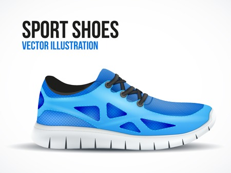 Running blue shoes. Bright Sport sneakers symbol. Vector illustration isolated on white background.