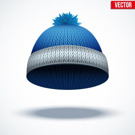 woolen: Knitted woolen cap. Winter seasonal blue hat. Vector illustration isolated on white background. Illustration