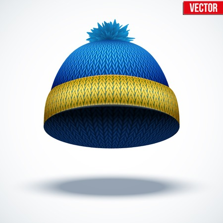 Knitted woolen cap. Winter seasonal blue hat. Vector illustration isolated on white background. Illustration