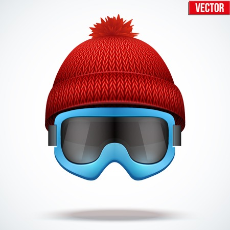 knitten: Knitted woolen red cap with snow ski goggles. Winter seasonal sport hat. Vector illustration isolated on white background. Illustration